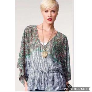 EUC CAbi Arts Kimono sleeve drawstring waist top